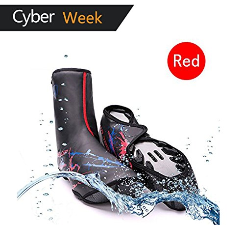 Bike Shoe Covers Outdoor Sports cycling Shoe Covers Waterproof Warmer Overshoes Shoe Cover for Men Women MTB Winter Rain cycle Bicycle Mountain Road Toe Cover Red Standard Size