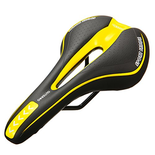 OUTERDO New Bicycle Saddle Professional Road MTB Gel Comfort Saddle Bike Bicycle Cycling Seat Cushion Pad 2715CM More color Black&Yellow
