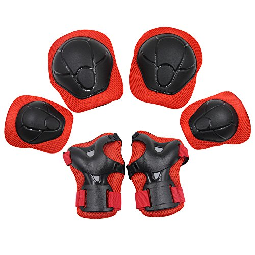 KuYou Sports Protective Gear Safety Pad Safeguard Knee Elbow Wrist Support Pad Set Equipment for Kids Youth Roller Bicycle BMX Bike Skateboard Hoverboard Protector Guards PadsRed