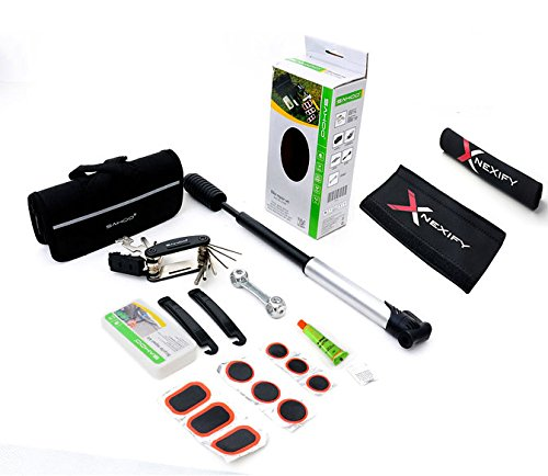 Nexify Portable Cycling Bike Bicycle Tool Bag with Tyre Repair Tool Kit Pump Wrench  Bike Chainstay Protector
