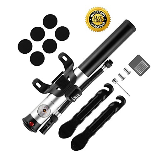 Bike Pump with Gauge Mini Bicycle Pump Fits Presta and Schrader Accurate Inflation High Pressure 210 Psi Includes Repair Kit by KeVis