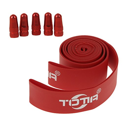 MonkeyJack Puncture Flat Resistant Tire Tube Protector Tape Liner 700C 16mm Red 5 Pieces MTB Presta Valve Mouth Cover Tyre Valve Cap Wheel Rims Stem Air Valve Dust Cap