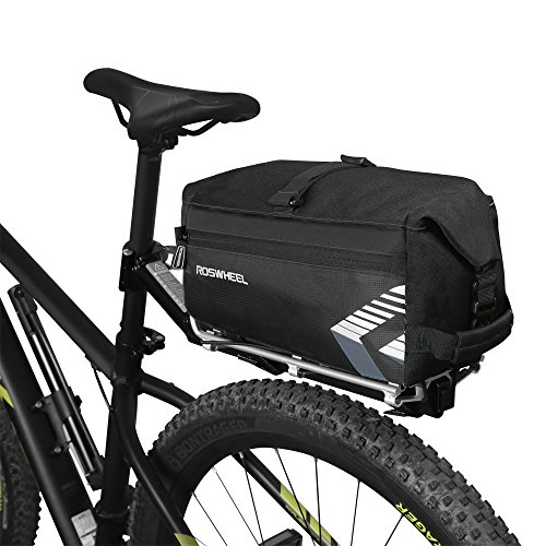 WOTOW Bike Rack Bag 6L Massive Capacity Bike Rear Seat Bag Bicycle Cycling Pannier Rear Rack Trunk Bag with Shoulder Strap Two Pocket for Outdoor Traveling Hunting Commuting Black