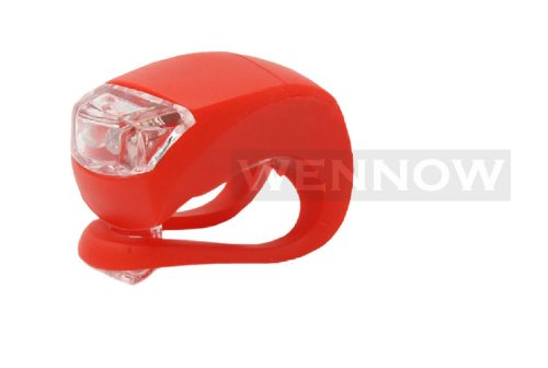 Wennow Silicone Bike Bicycle Rear Wheel Double LED Flash Red Light Red Case