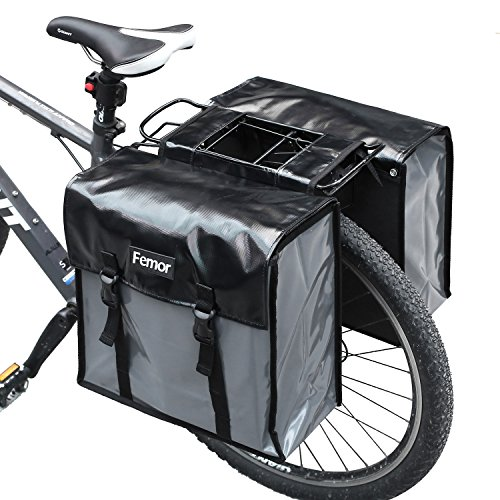 FEMOR Waterproof Bike Bag Bicycle Panniers 40L Double Luggage Pannier Bag with Adjustable Straps and 3M Reflective Trim Best Mountain Road Bike Trunk Bag Black