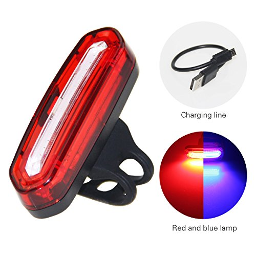 PAGAO BIKE TAIL LIGHT Ultra Bright And USB Rechargeable Bicycle Flashing Rear taillight for 120 Lumen LED Safety Warning Strobe Tail Light also for Helmet and Backpack Red-Blue