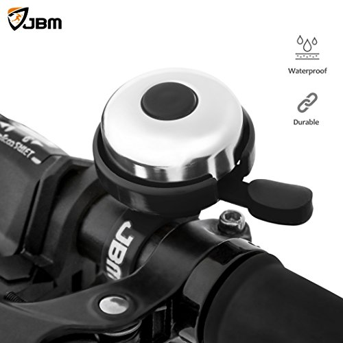 JBM Aluminum Bicycle Bike Bell Left Side ONLY Ring Horn Accessories 5 Colors Clear and Loud Fits for Adults Youth Kids Mountain Road Bike Bell Red Blue Black Pink Grey Black Left