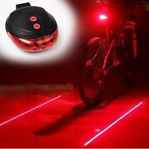 Bike Rear Tail Light SUN RUN Super Bright 2 Laser 5 LEDs 7 Modes Cycling Bicycle Torch- Road Racing Mountain- Fits ALL Bicycles Trikes Scooters Red