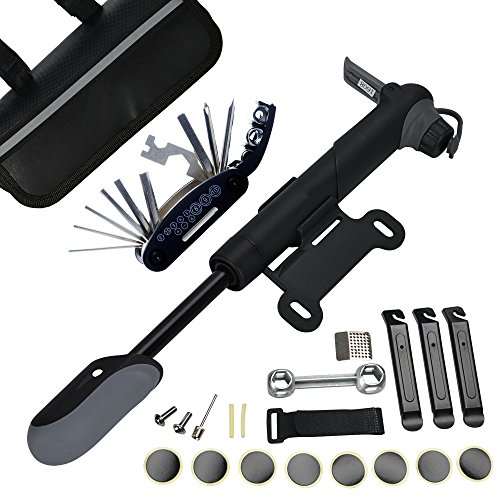 DAWAY A35 Bike Repair Kit - 120 PSI Mini Pump 16 in 1 Bicycle Multi Tool with Handy Bag Included Glueless Tire Tube Patches Tire Levers