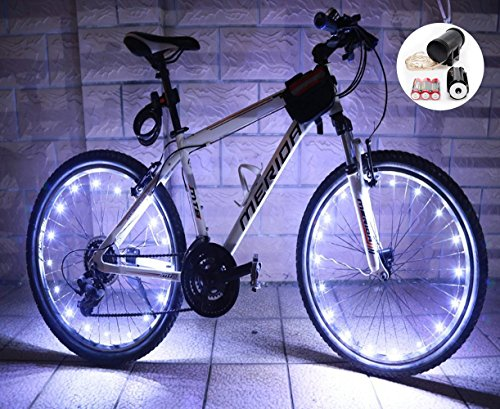 LEDMO 2 packBicycle Bike Rim Lights 20 LEDs White Wheel Lights LED String Light White Bicycle Bike Wheel Rim Copper Wire Starry Light  Perfect for Safety and Fun color - Battery