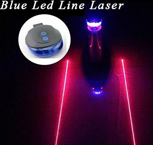 YOYOCC Bicycle Safety warning Laser Tail Light 2 Laser 5 LED 7 Modes Mountain Bike Flashing LED Cycling Back Rear Alarm Blue Light