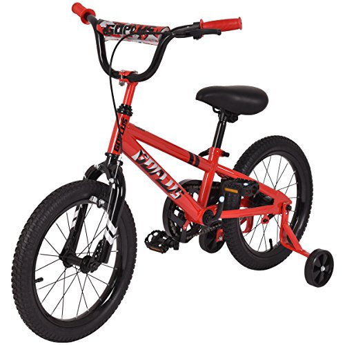 Goplus 16 Kids Bike Bicycle Boys Bike and Girls Bike w Training Wheels Toddler Ride Gifts for Children Red