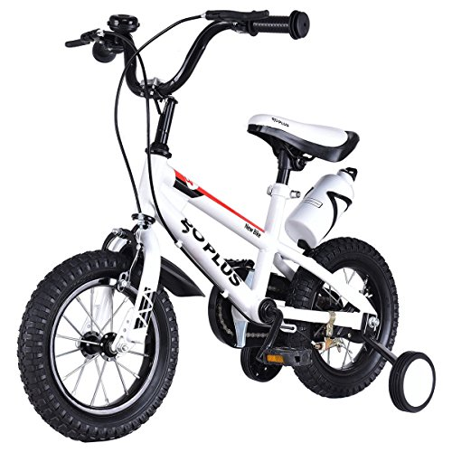 Goplus BMX Freestyle Kids Bike Boys and Girls Bicycle with Training Wheels Perfect Gift for Kids 12 White