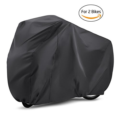 Bike Cover  Gvoo Bike Cover for Two 190T Outdoor Waterproof UV Protection Bicycle Cover for Mountain Bike Road Bike Racing bike - Black&Silver