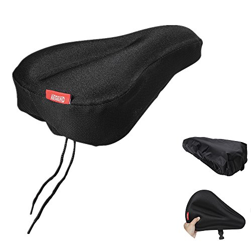Bike Gel Seat Cushion Cover Aegend Bicycle Saddle Pad Comfortable Soft Bicycle Seat Bike Saddle Cushion for Women Men for Outdoor Cycling with Water&Dust Resistant Cover
