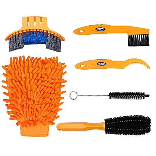 Oumers 6pcs Bike Bicycle Clean Brush Kit Cleaning Tools for Bike ChainCrankTireSprocket Cycling Corner Stain Dirt Clean Fit All Bike