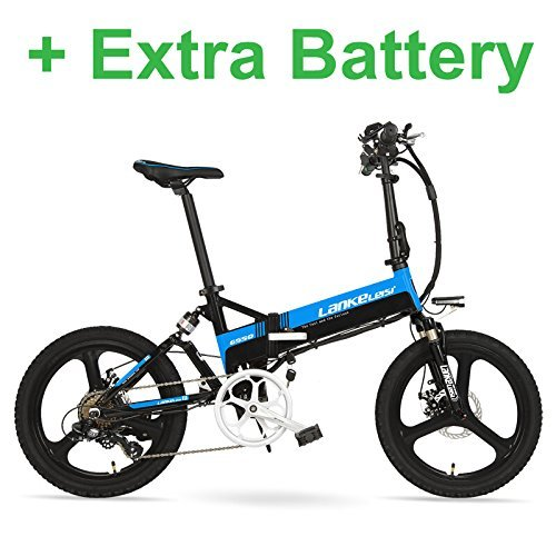 G550 20 inches Folding Electric Bike 36V 138Ah 240W Aluminum Alloy Frame Magnesium Alloy Wheel Folding Pedal Black Blue Plus Extra Battery