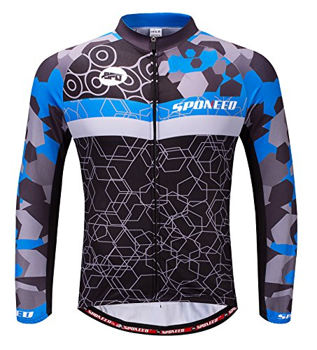 Mens Bike Shirts Winter Cycling Gear Bicycle Tops Long Sleeve Jacket US XL Blue Multi