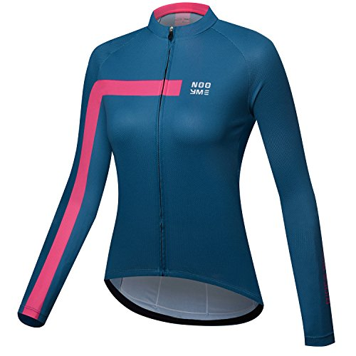 NOOYME New Gear For Spring Womens Bike Cycling Jerseys Tops Long Sleeve Bicycle Jersey Bright Pink Medium