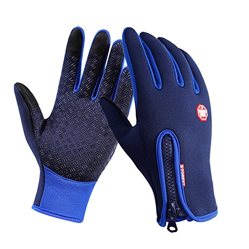 Mens Waterproof Touchscreen Gloves Winter Windproof Riding Driving Running Cycling Thermal Warm Full-fingered Gloves for Outdoor Sports