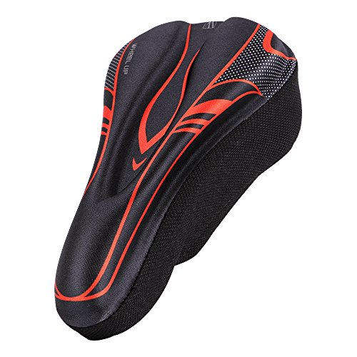 Cyclemann Bicycle MTB Mountain Road Bike High Performance Ultra Soft Ventilated Silicone GEL Saddle Seat Cover Cushion Red