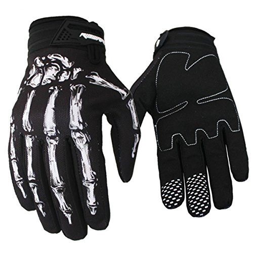Panegy Full-Finger Cycling Gloves Competition Grip Fitness Unisex Skeleton Bones Road Racing Bicycle Gloves White Size - XL