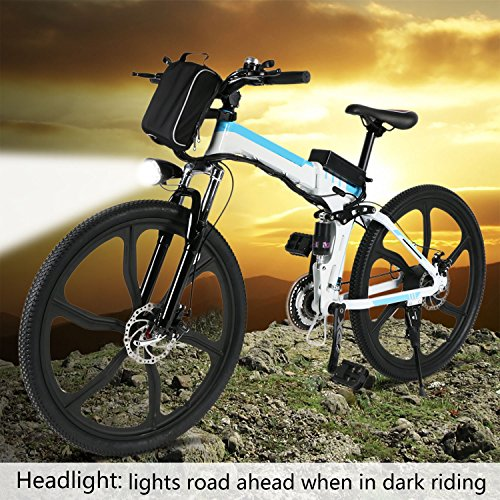 Folding Electric Mountain Bike with 26 Super Lightweight Magnesium Alloy 6 Spokes Integrated Wheel 250w Motor 36v8AH Large Capacity Lithium-Ion Battery and Shimano Gear