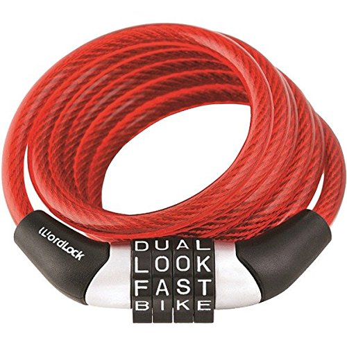 Wordlock CL-455-RD Non-Resettable Combination Cable Lock 4-Feet Red