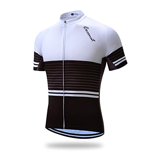 Runmaner Coconut Mens Cycling Jersey Short Sleeve Road Bike Biking Shirt Bicycle Clothes - Breathable and Quick-Dry White&Black XL