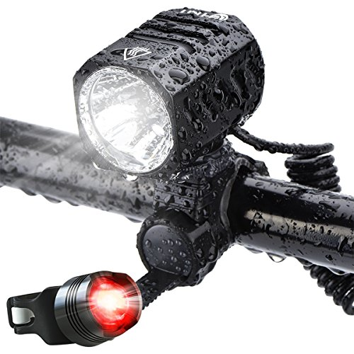 Super Bright Bike Light USB Rechargeable Te-Rich 1200 Lumens Waterproof Road  Mountain Bicycle Headlight and LED Taillight Set with 4400 mAh Battery